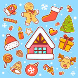 Vector illustration of red, green and yellow christmas items on. Blue background with snowflakes. Bright color. Hand draw line art design for web, site royalty free illustration