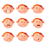 Vector illustration of the red-haired boy and his emotions. Set of different emotions in Cartoon style. Feelings - joy, sadness, hurt, shock, inspiration royalty free illustration