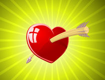 Vector illustration of red heart with arrow Royalty Free Stock Image