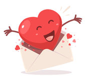 Vector illustration of red heart comes out of the envelope  Stock Photos
