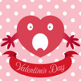Vector illustration of red heart on cute seamless background Royalty Free Stock Photo