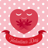 Vector illustration of red heart on cute seamless background Stock Photography