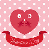 Vector illustration of red heart on cute seamless background Royalty Free Stock Images