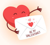 Vector illustration of red heart holding envelope  Stock Photo