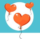Vector illustration of red heart-shaped balloons. Isolated on background. Vector Illustration Stock Photos