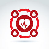 Vector illustration of a red heart symbol with an ecg placed in. A circle, heartbeat line, medical cardiology label. Blood donation symbol, circulatory system Royalty Free Stock Images