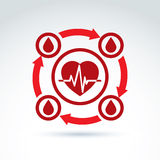 Vector illustration of a red heart symbol with an ecg placed in Royalty Free Stock Photography