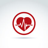 Vector illustration of a red heart symbol with an ecg placed in. A circle, heartbeat line, medical cardiology label. Conceptual passion love icon Royalty Free Stock Photo