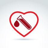 Vector illustration of a red heart symbol and test tube with a b. Lood drop. Medical cardiology label, blood donation symbol Stock Photo
