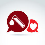 Vector illustration of a red heart symbol and test tube with a b. Lood drop. Medical cardiology label, blood donation symbol, speech bubble icon.  Chat on life Stock Image