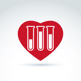 Vector illustration of a red heart symbol and test tube with a b. Lood sample. Medical cardiology label, blood donation symbol Stock Photo