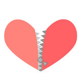 Vector illustration of a red heart with zipper Royalty Free Stock Photography
