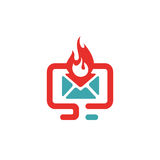 Vector illustration of red hot mail icon. Stock Images