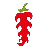 Vector illustration of red hot pepper with flames Stock Images