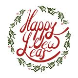 Vector illustration of red lettering happy new year in a frame. Vector illustration of red lettering happy new year in a circle of green fir tree branches for vector illustration