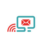 Vector illustration of red mail and wlan icon on pc. Stock Images