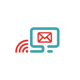 Vector illustration of red mail and wlan icon on pc. Royalty Free Stock Images
