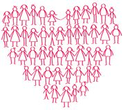 Vector illustration of red male and female stick figures standing in shape of heart symbol holding hands. Isolated on white background Royalty Free Stock Photos