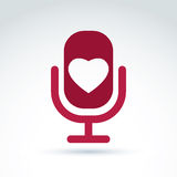 Vector illustration of red microphone with love symbol, broadcas Stock Photo