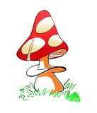 Vector illustration of red mushroom with white spots Royalty Free Stock Images
