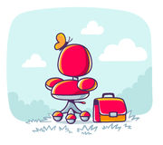 Vector illustration of red office armchair with briefcase on nat Stock Image