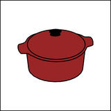 Vector illustration of a red pan. Stock Photos