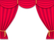 Vector illustration Red realistic silk curtains drapery isolated. stock illustration