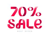 Sale 70 percent off. Vector illustration. Red Ribbon isolated on white background. Sale 70 percent off. 70 discount. Sale symbol, sticker tag, special offer stock illustration