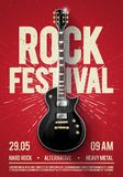 Vector illustration red rock festival concert party flyer or poster design template with guitar, place for text and cool effects. In the background Stock Image