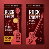 Vector illustration red rock festival ticket design template with guitar. For music concert, events with grunge effects stock illustration