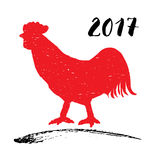 Vector illustration of a red rooster or cock silhouette, symbol of Chinese new year 2017. Vector illustration of a red rooster or cock silhouette, symbol of Royalty Free Stock Photo