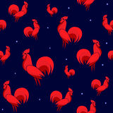 Vector illustration of Red Roosters seamless pattern with dots. Cock  on dark background. Endless backdrop for new year 2017 Stock Photos