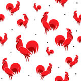 Vector illustration of Red Roosters seamless pattern with dots Royalty Free Stock Photo