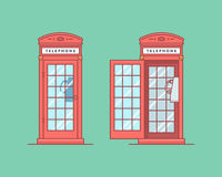 Vector illustration. Red telephone public call box Stock Photography