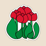Vector illustration of red tulips. Illustration of red tulips Royalty Free Stock Photo