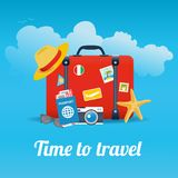 Vector illustration of red vintage suitcase with stickers and different travel elements. Isolated on blue background with clouds. Tourism concept banner Royalty Free Stock Photo