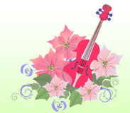 Red Violin and Poinsettia Stock Images