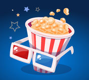 Vector illustration of red and white bucket with popcorn  Stock Images