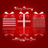 Red and white christmas gifts with polka dots and line pattern stacked in line with christmas and new years greetings. Vector Illustration. Red and white Royalty Free Stock Photo