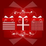 Red and white christmas gifts with polka dots and line pattern stacked together with christmas and new years greetings. Vector Illustration. Red and white Royalty Free Stock Images