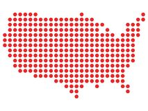 Red and White Dotted Map of the United States of America. Vector illustration of the Red and White Dotted Map of the United States of America vector illustration