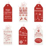 Vector illustration of red and white tags with small drawings and Merry Christmas words. Vector illustration of red and white tags with small drawings and Merry vector illustration