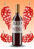 Vector illustration of red wine bottle and grapes Stock Photo