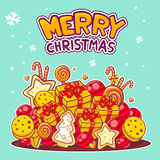Vector illustration of red and yellow pile of christmas items an. D hand written text on green background. Bright color. Hand draw line art design for web, site Royalty Free Stock Photos
