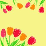 Vector illustration of red yellow tulips used as a postcard in m royalty free illustration