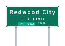 Redwood City City Limit road sign stock photos