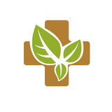 Vector illustration of religious Christianity cross composed wit. H green spring leaves. Charity and volunteer theme. Alternative medicine concept Royalty Free Stock Photography