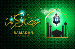 Vector illustration of religious green color eid background design with mosque. Stock Photo