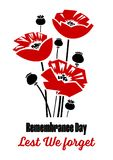 Remembrance day. Vector illustration - Remembrance Day poster with red poppy flowers stock illustration