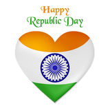Vector illustration of Republic Day in India. Heart looking as the Indian flag.  Royalty Free Stock Image